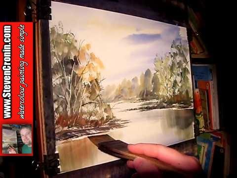 Watercolour Landscape Painting Demonstration of River Cole, Kingshurst Part 2 of 2