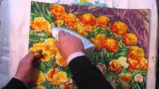 Как рисовать ЦВЕТЫ БАРХАТЦЫ восковыми красками. Урок 71