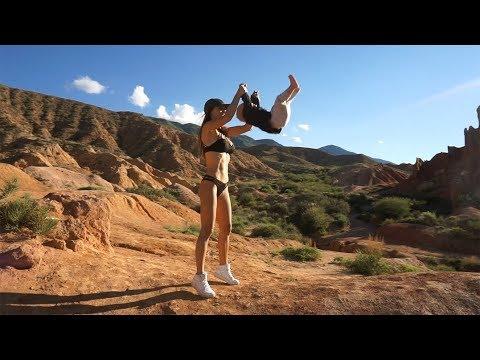 Kyrgyzstan #3. Car trip with my sweet girlfriend. Grand Canyon. Sunset romance
