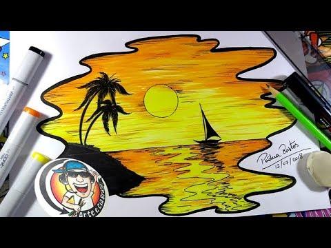 Desenho De Paisagem Por Do Sol Super Facil Passo A Passo Youtube