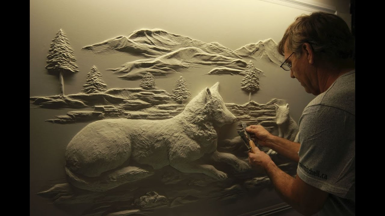 Drywall art sculpture by bernie mitchell youtube for Escultura mural