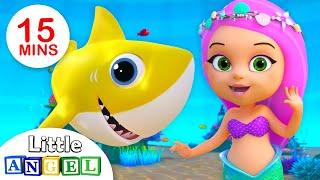 Bebê Tubarão e a Pequena Sereia (Baby Shark) | Vídeos Infantis | Little Angel Português