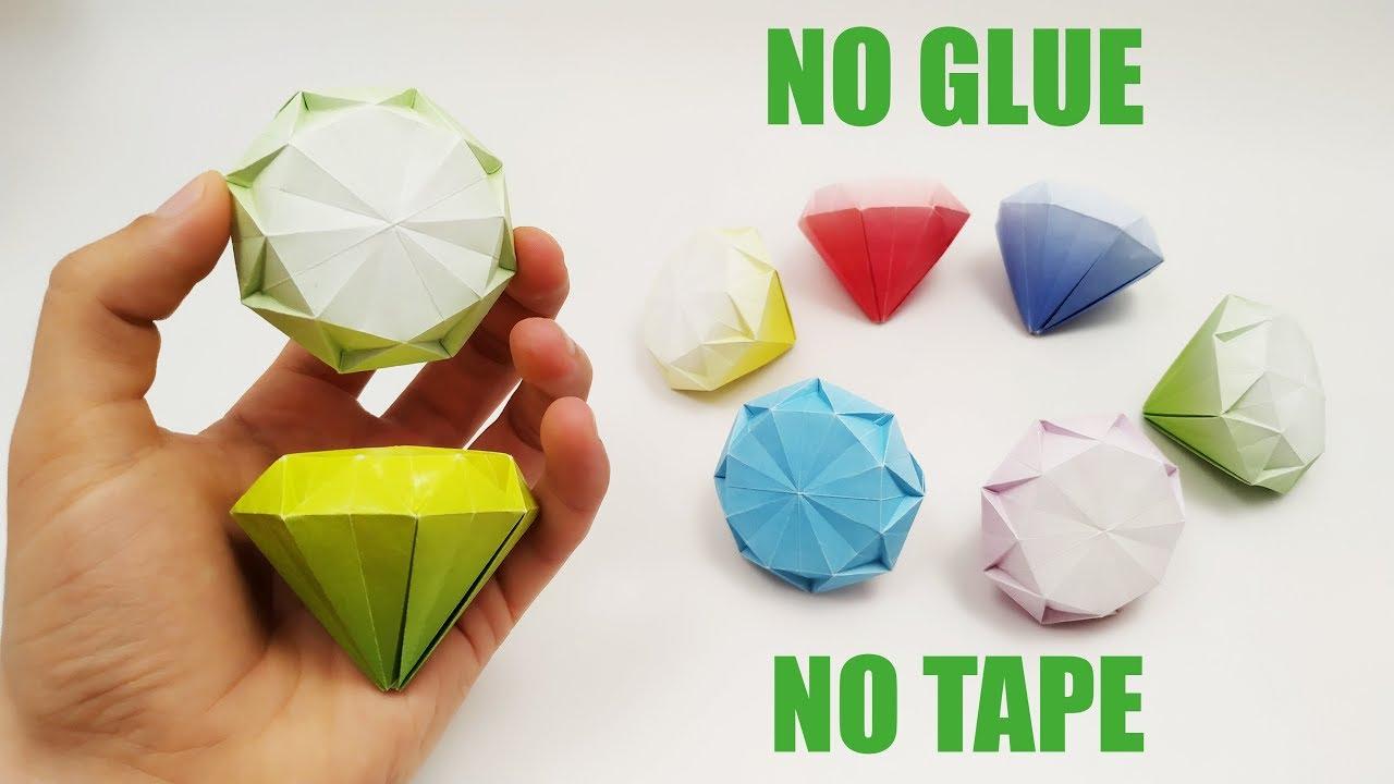 ダイアモンドの折り方 の作り方 テープなし! 接著剤なし ...