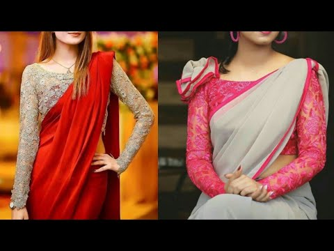 Best plain Saree with designer net blouse designs ideas/Modern. stylish saree design ideas