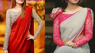 Best plain Saree with designer net blouse designs ideas/Modern. stylish saree design ideas