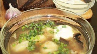 Гречневый грибной суп с картофельными клецками.Очень вкусный!