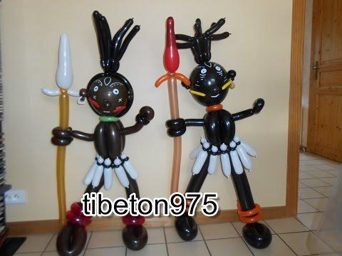 "N° 83 ""Le Guerrier Africain"" African warrior balloon twisting tutorial ,globo"
