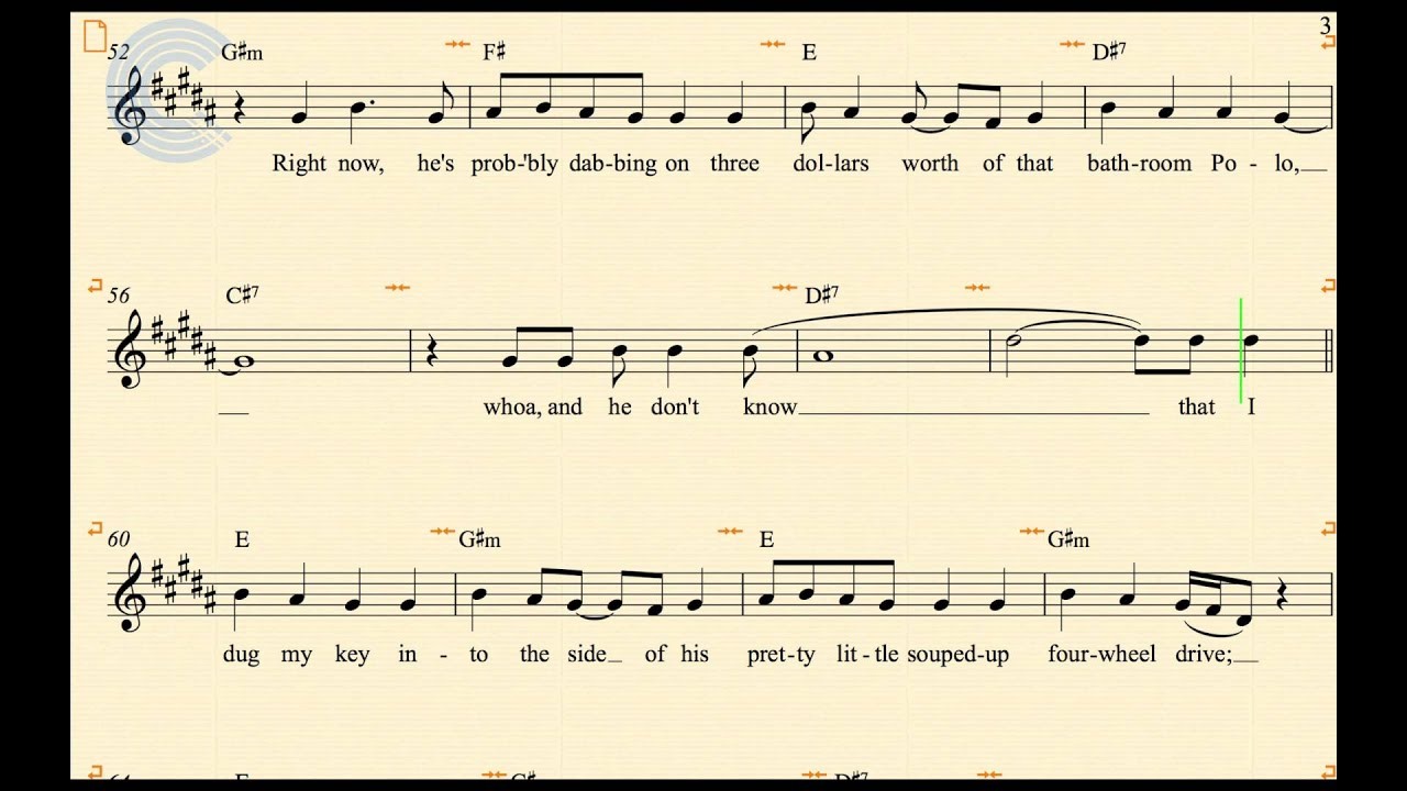 Trumpet Before He Cheats Carrie Underwood Sheet Music Chords