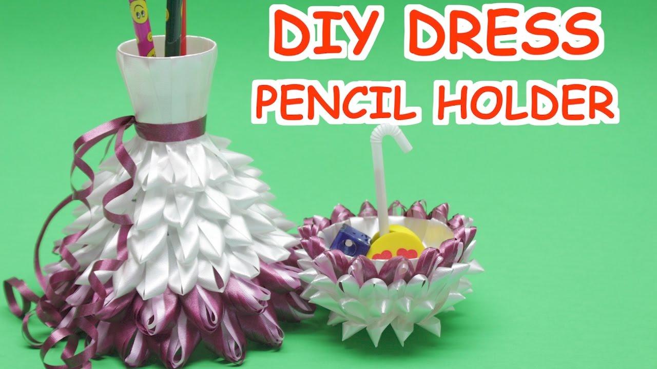 DIY Plastic Bottles Dress Pencil Holder 2 in 1- Plastic Bottle ... for Diy Plastic Bottle Pen Holder  45gtk
