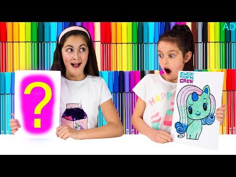 3 MARKER CHALLENGE SIS vs SIS!  My Little Pony Cutie Mark Crew Edition!