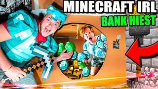 Minecraft IRL Stealing DIAMONDS Box Fort Bank Heist! 24 Hour Challenge!