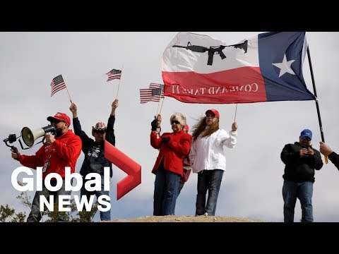 Trump supporters stage a 'human wall' at U.S.-Mexico border Mp3