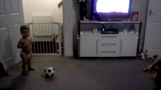 My 18month old son jax playing football...