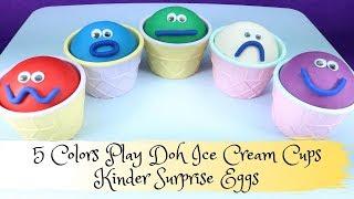 5 Colors Play Doh Ice Cream Cups Surprise Toys Roblox Kinder Surprise Eggs