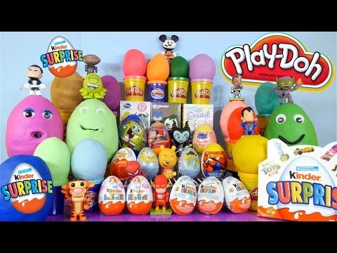 30 Play Doh Kinder Surprise Eggs Spongebob Squarepants Peppa Pig Simpsons Disney Princess Playdough