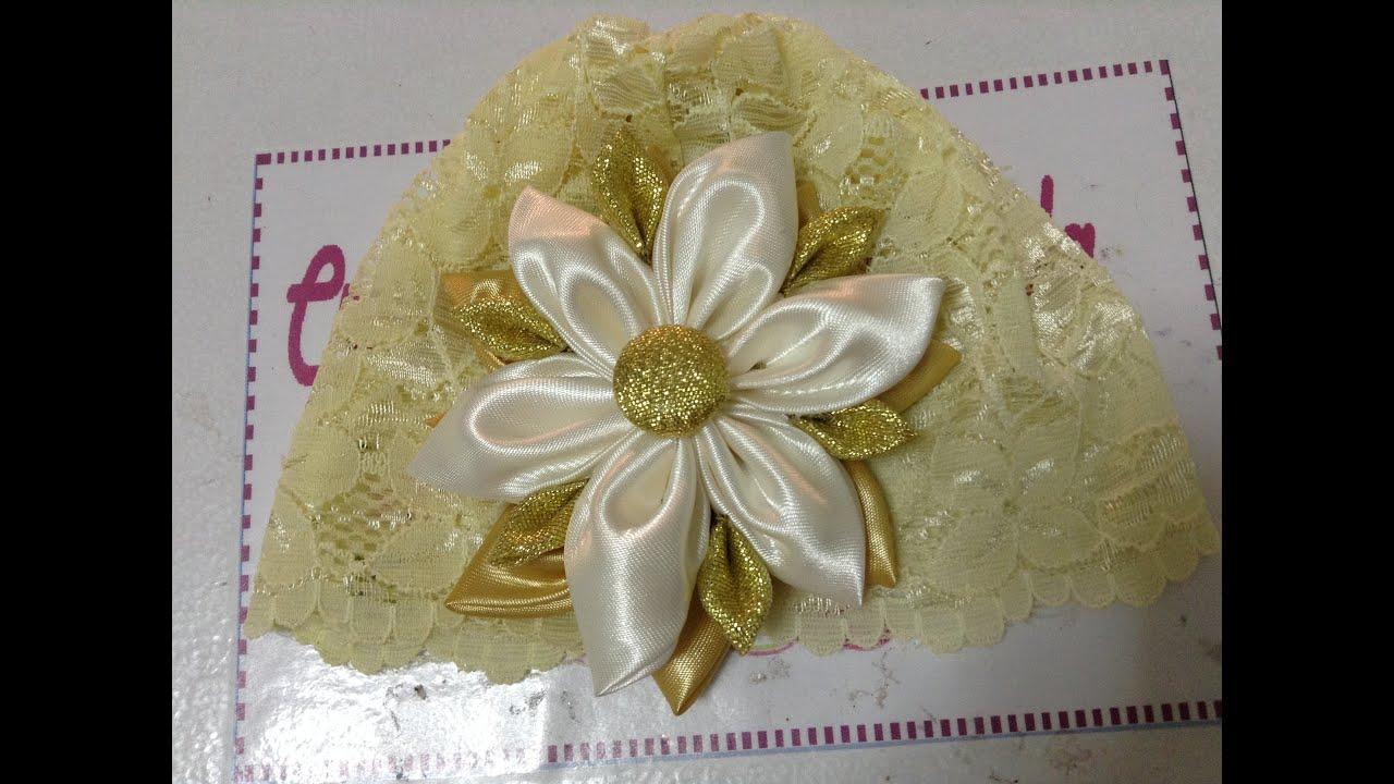 Gorro de encaje con flor de tela video no 187 youtube - Flores de telas hechas a mano ...