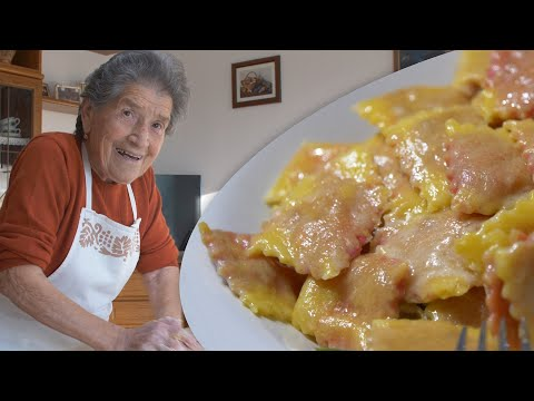 Pasta Grannies discovers 90 year old Filomena's beetroot filled ravioli!