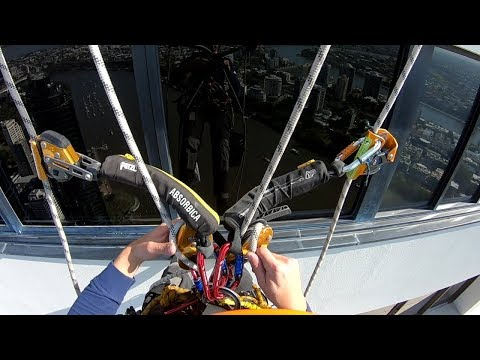 Rope Access Window Cleaning - Rope Transfer