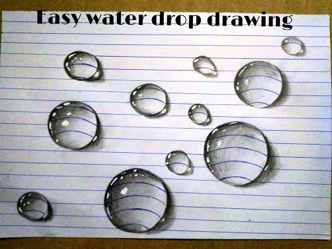 """3d real water drop"" drawing simple technique 