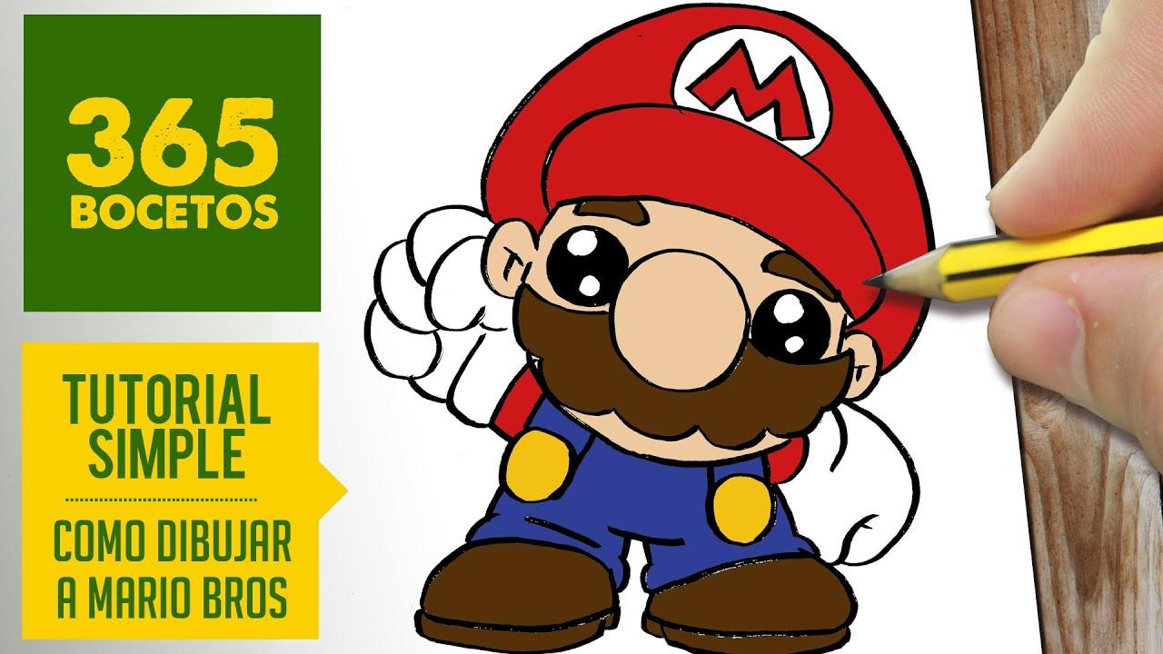 Como Dibujar A Mario Bros Kawaii Paso A Paso Dibujos Kawaii Faciles How To Draw Mario Bros