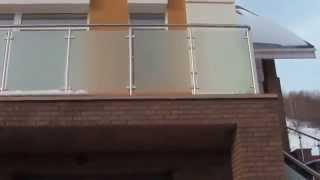 Стеклянное ограждение с использованием закаленного стекла Сатинат(При монтаже лестничного ограждения использовалось закаленное химически матированное стекло ., 2015-08-19T05:51:11.000Z)