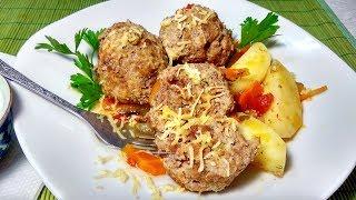 Мясные тефтели с картофелем в томатном соусе. Простое и сытное блюдо