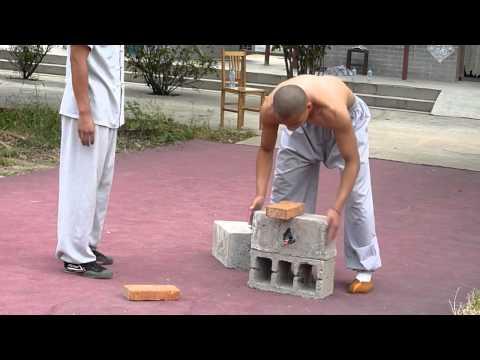 Shaolin Kungfu  Breaking Iron and Bricks
