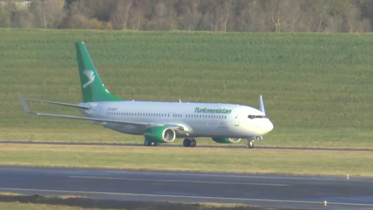 New Turkmenistan 737-800 on Delivery visits Birmingham Airport