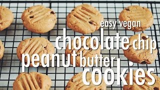Easy Vegan Chocolate Chip Peanut Butter Cookies | Hot For Food