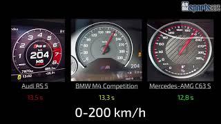 0-250 km/h: Audi RS 5 vs BMW M4 Competition vs Mercedes-AMG C63 S - AUTO BILD SPORTSCARS