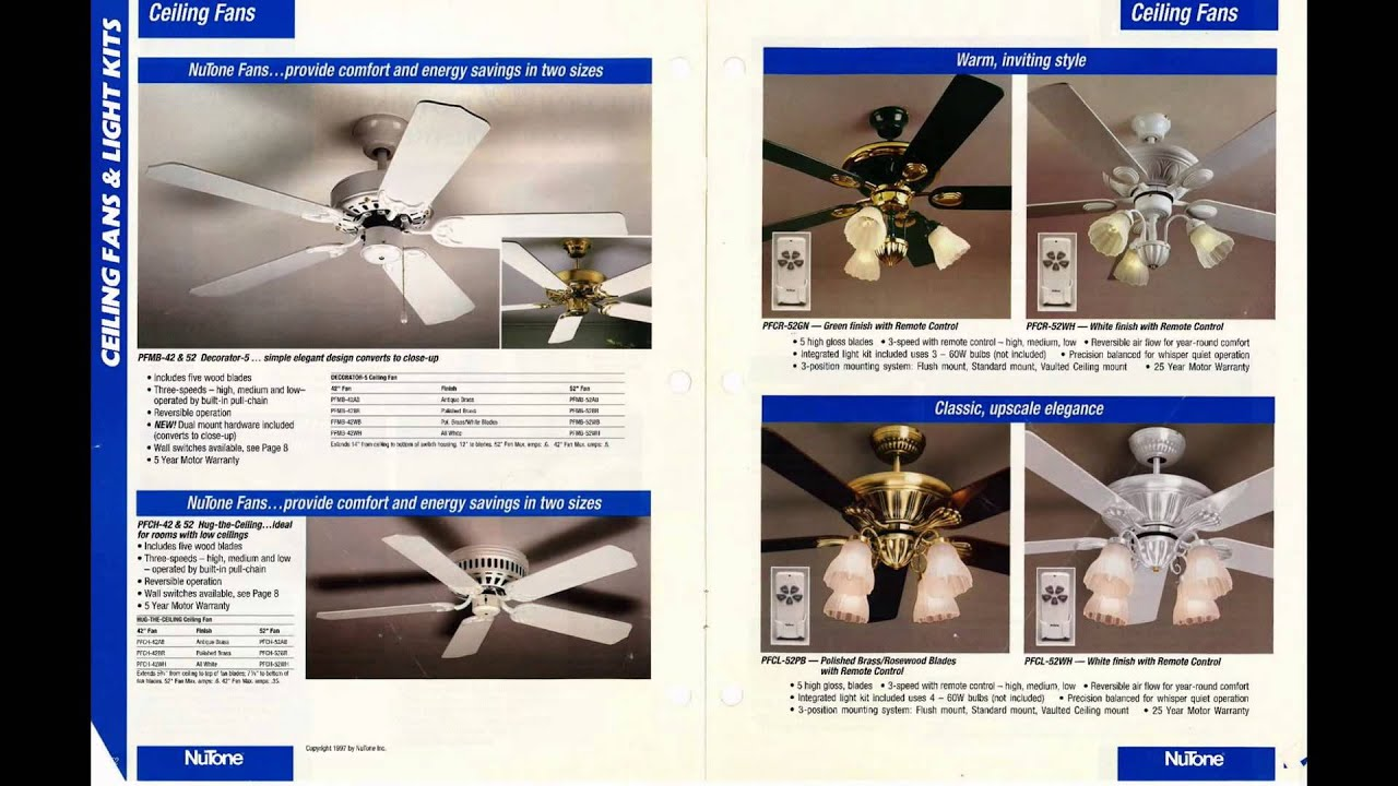 Nutone ceiling fan catalog from 1997 youtube nutone ceiling fan catalog from 1997 aloadofball Image collections