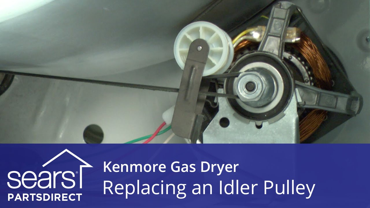 How to Replace a Kenmore Gas Dryer Idler Pulley  YouTube
