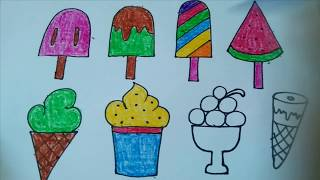 Coloring Ice Cream  and Fruit, Draw Ice cream for kids learn Color - DIEM MAI