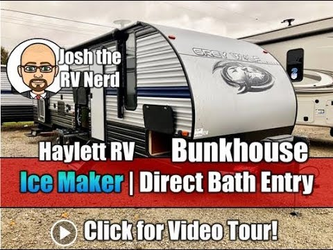 Late 2019 or Early 2020 Grey Wolf 26DBH Half Bath Entry Outside Kitchen Travel Trailer