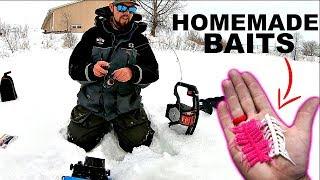 Homemade Baits Ice Fishing CHALLENGE!!! (They WORKED!)