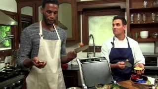Kareem Rush Dads Doin Dishes - Grilled Romaine & Shrimp Salad With Almond Granola