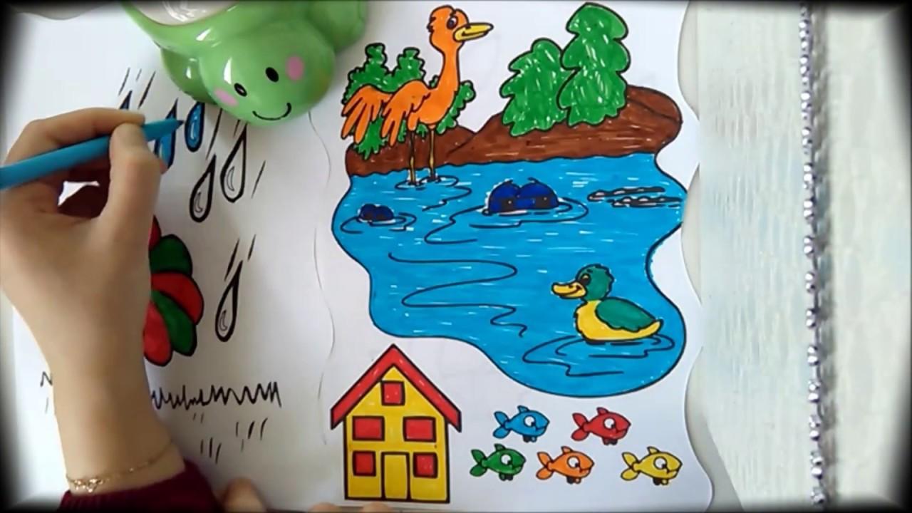 Rengarenk çocuk Dünyası Müzikli Boyama Serisi 7 Doğa Resmi Youtube