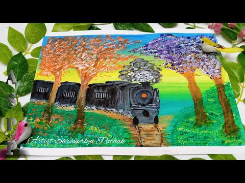 #21 Snowy Train step by step Acrylic Painting/ Acrylic Landscape painting tutorial Steam Train Video