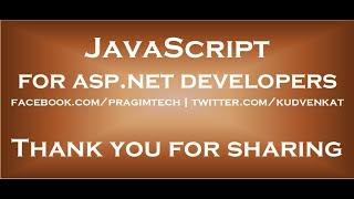Javascript for asp.net developers