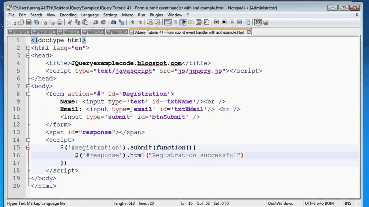 JQuery Tutorial 41 - Form submit event handler with an ...