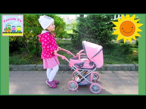 Коляска для кукол распаковываем гуляем катаем БЕБИ БОРН Baby doll stroller unboxing wolking