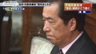菅内閣不信任案を否決 賛成152票、反対293票(11/06/02)