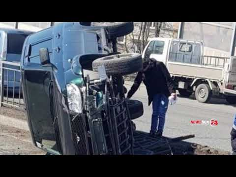 Русский джип перевернулся и сломал леерные ограждения во Владивостоке