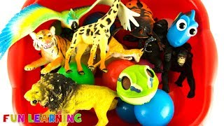 Learn Wild Animals Names For Kids with Zoo Animal Toys and Sea Animals