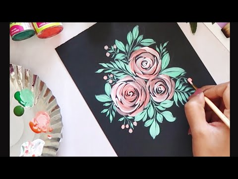 Easy Quick Acrylic Floral Painting Ideas For Beginners Floral Art Acrylic Painting Youtube