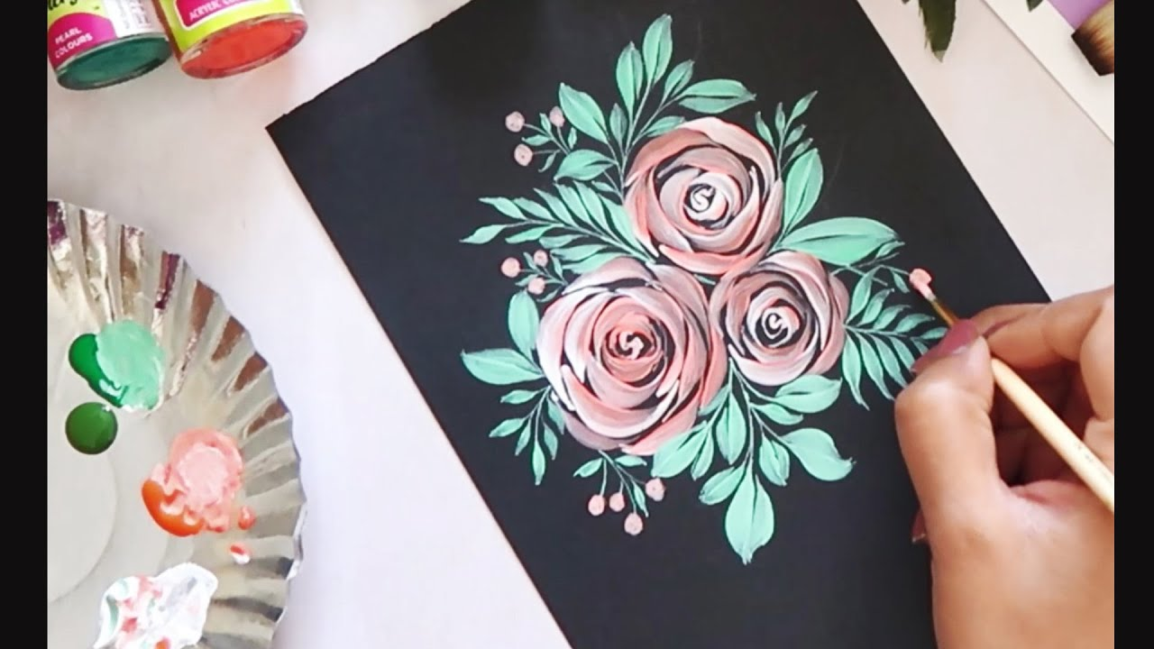Easy Quick Acrylic Floral Composition Ideas For Beginners Floral Art Acrylic Painting Youtube