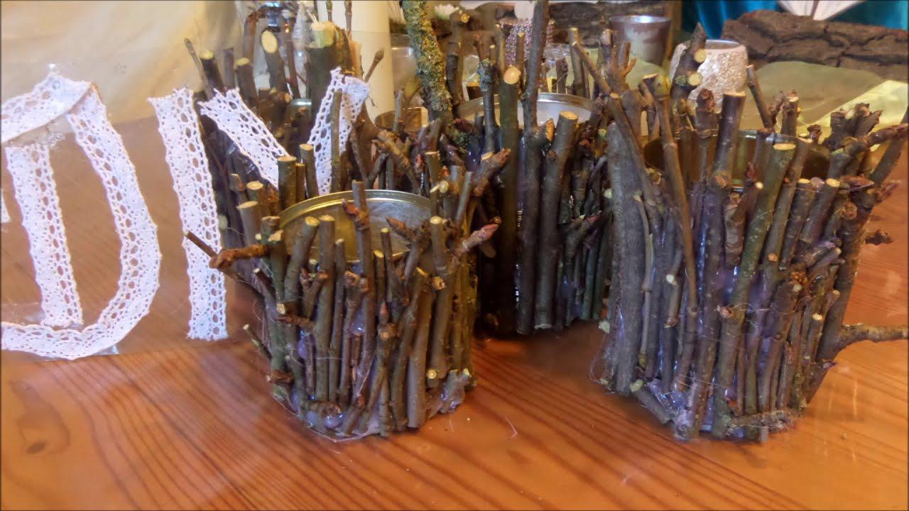diy: holz-deko gefäß, kerzenständer aus Ästen selber machen für