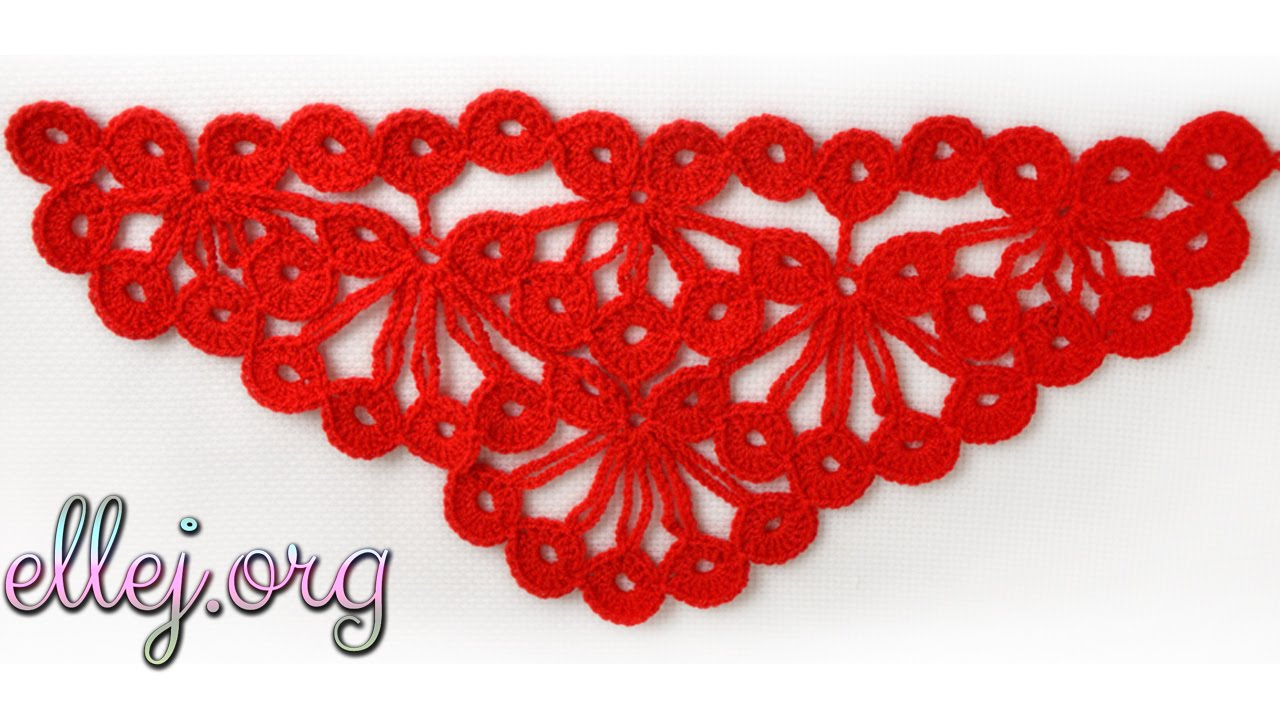 схема вязания красной шали крючком