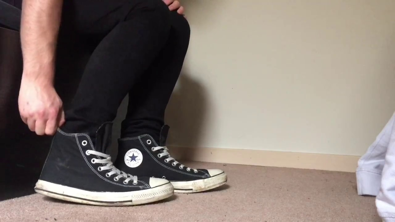 used converse all stars high tops shoeplay with skinny