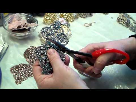 Making Jewelry with Brass Stampings, Cutting, Bending:  Make a Cuff, Necklace, and Bracelet Top